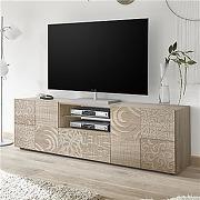 Grand meuble tv 180 cm contemporain chêne clair...