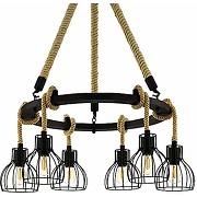 Eglo rampside suspension acier bois noir marron
