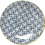 Assiette kare design en porcelaine bords jaunes...