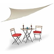Relaxdays voile d'ombrage triangle beige léger...