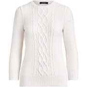 Puff sleeve cable sweater pullover lauren ralph...
