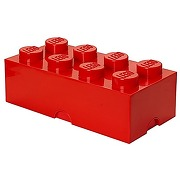 Lego storage brick with 8 knobs, in bright red