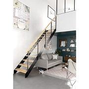 Escalier loft qt bas métal std marches chêne...
