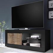 Meuble tv avec led couleur bois et noir focia 4