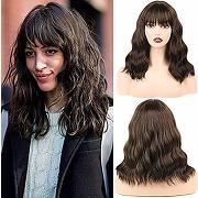 "Huarisi 14""short curly wavy synthetic hair wigs..."