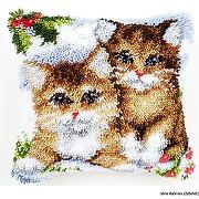 Kit coussin au point noué chats dans la neige