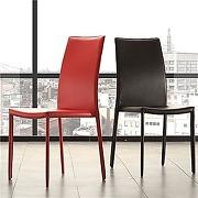 Chaise rouge design empilable adele (lot de 4)
