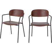 Piter - 2 chaises avec accoudoirs en bois et...
