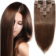Extensions cheveux clips naturel #4 chatain...