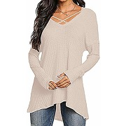 Yoins femme pull long sweater col v tricot...