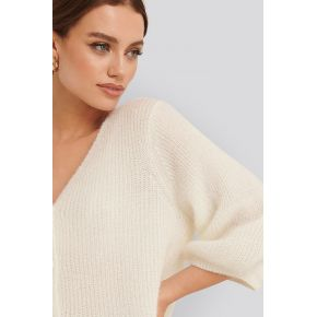 Na-kd balloon sleeve short knitted cardigan -...