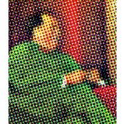 Tableau retro multicolore mao en costume vert...