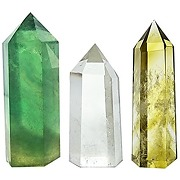 Set of 3 crystal wands of clear quartz, yellow...