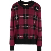 Plaid embell ls sweater pullover michael...