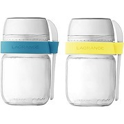Pot lagrange 2 pots compartimentés citron&celeste