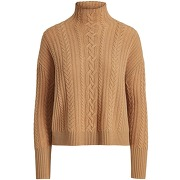 Cable-knit wool-cashmere sweater col roulé...