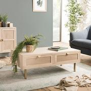 Table basse aline 2 tiroirs toile de jute pieds...