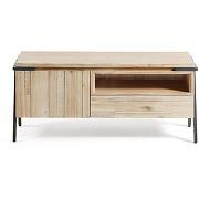 Spike - meuble tv design bois massif et métal 1...
