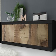 Buffet 210 cm couleur bois et noir focia 4