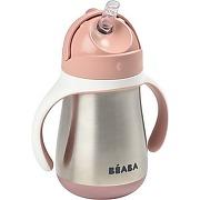 Tasse beaba paille inox 250 ml - old pink
