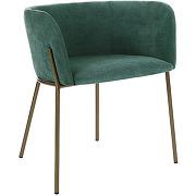 Polka - fauteuil de table en velours pieds métal