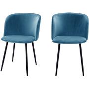 Vitikko - 2 fauteuils de table velours et pieds...
