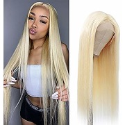 Perruque cheveux humain blond lace frontal wig...