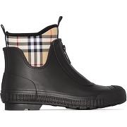 Burberry bottines de pluie à empiècements à...