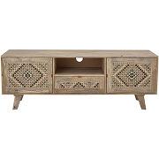 Celest - meuble tv 2 portes en bois et cannage...