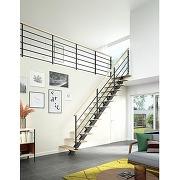 Escalier elliot qt haut métal std marches chêne...