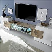 Meuble tv design blanc et couleur bois luxor 3