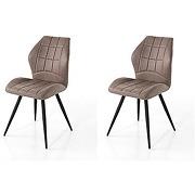 Chaise en tissu gris design artic (lot de 2)