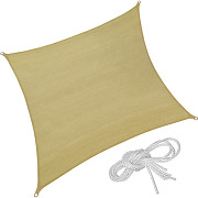 Tectake - voile d'ombrage carré 4 m x 4 m sable...