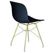 Chaise troy avec cadre en fil de fer - noir - or