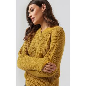 Na-kd wide band v-neck ribbed sweater - yellow