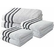 Lot de 4 serviettes de toilette 50x100 cm + 2...