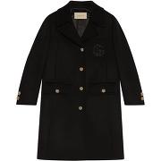 Gucci manteau boutonné à logo gg brodé - noir