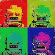 Tableau pop art multicolore robot 80x80