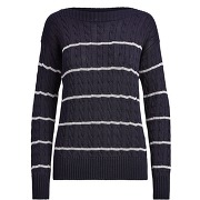 Striped cable sweater pullover lauren ralph...
