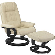 Fauteuil de relaxation cuir beige - excelly n°1...