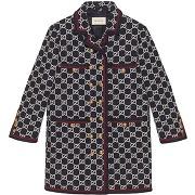 Gucci manteau en tweed à motif gg supreme - bleu