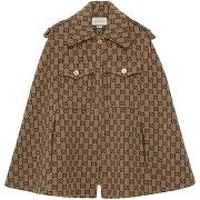 Gucci cape à motif monogrammé - marron